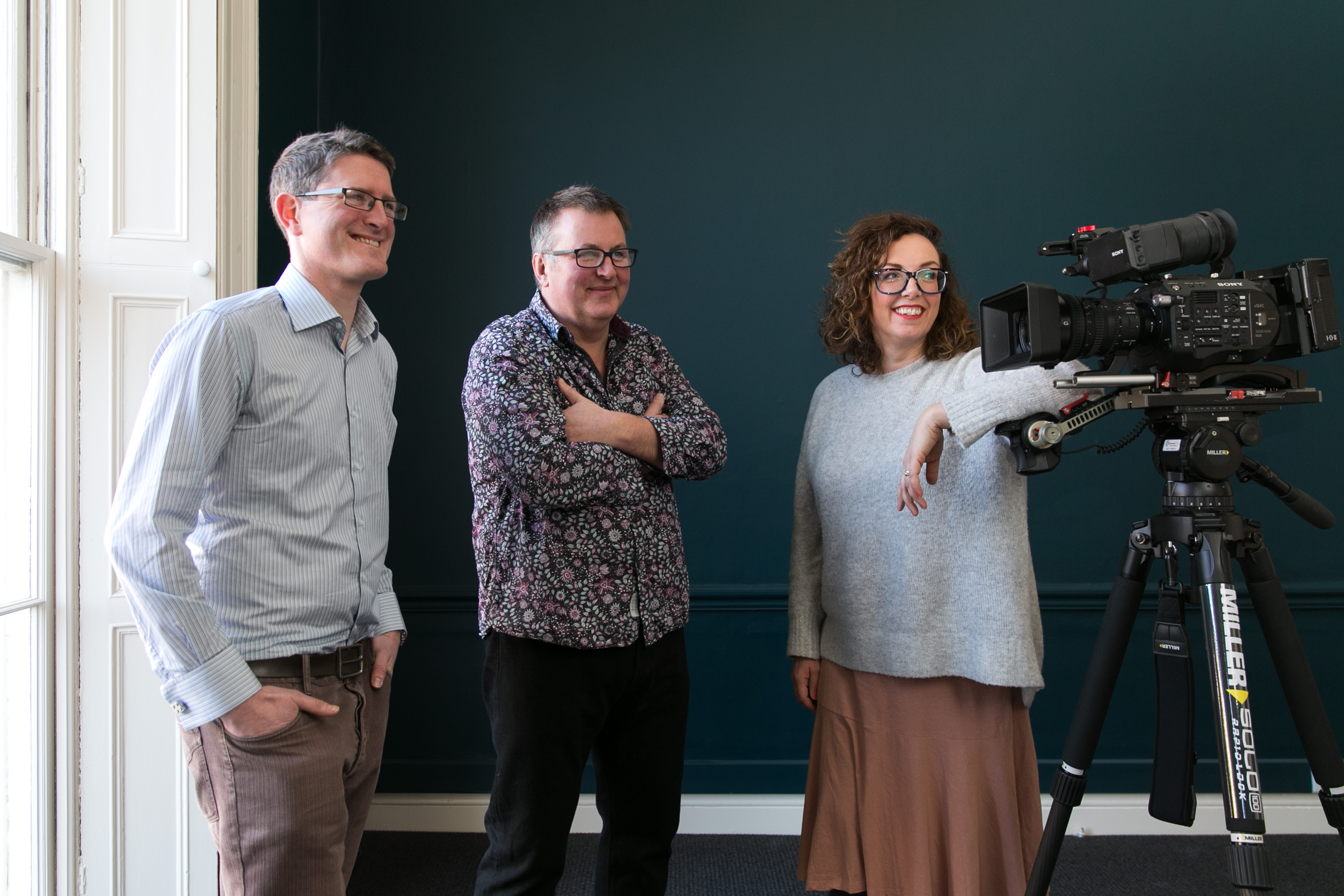 Diarmaid Mac Mathúna, Conor Moloney, Orla Doherty at launch of indiepics brand
